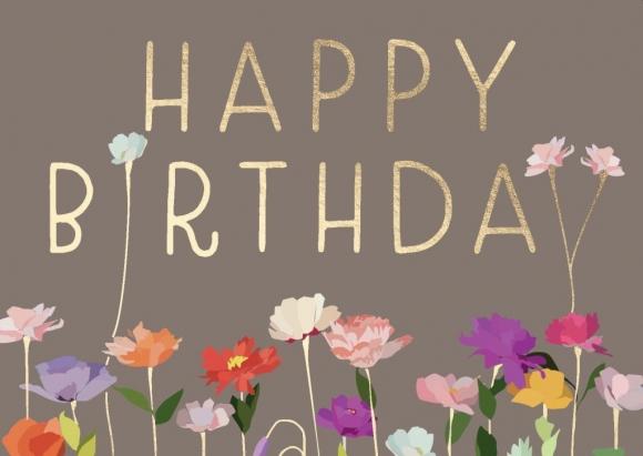 Postkarte: Happy Birthday - Bunte Blumen