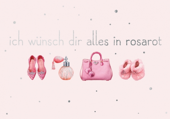 Doppelkarte: Ich wünsche Dir alles in Rosarot
