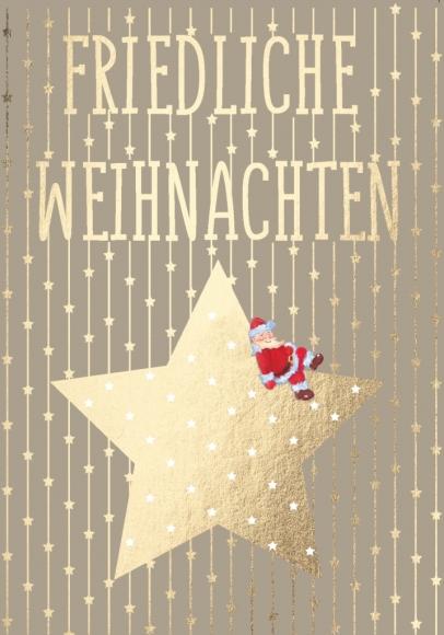 Doppelkarte: Friedliche Weihnachten - Stern mit Weihnachtsmann