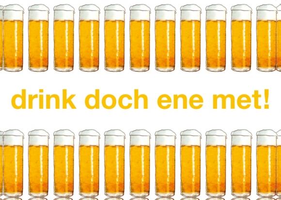 Postkarte: drink doch ene met!