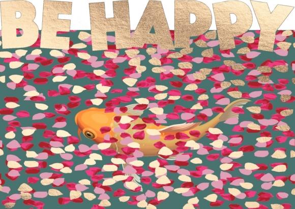 Postkarte: Be happy - Koi