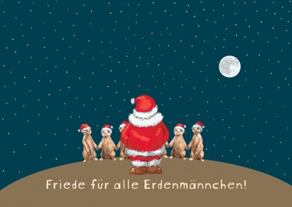 Postkarte: Friede für alle Erdenmännchen