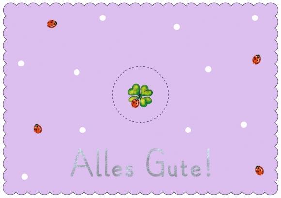 Postkarte: Alles Gute! Kleeblatt