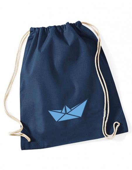 Turnbeutel Papierboot blau