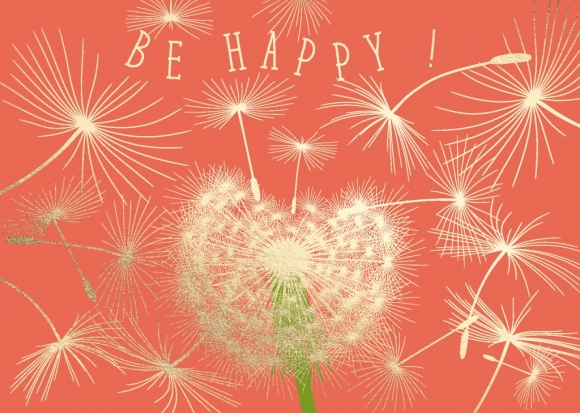 Postkarte: Pusteblume - Be Happy