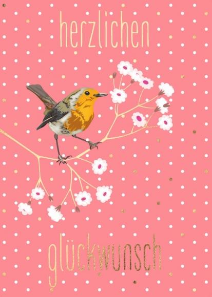 Postkarte: Rotkehlchen - Herzlichen Glückwunsch