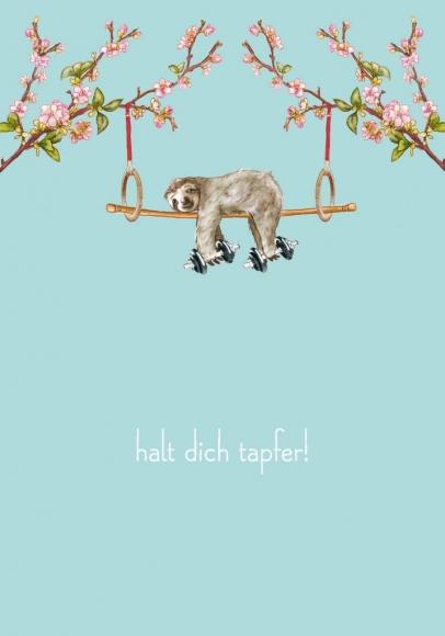 Postkarte: Halt dich tapfer! Faultier
