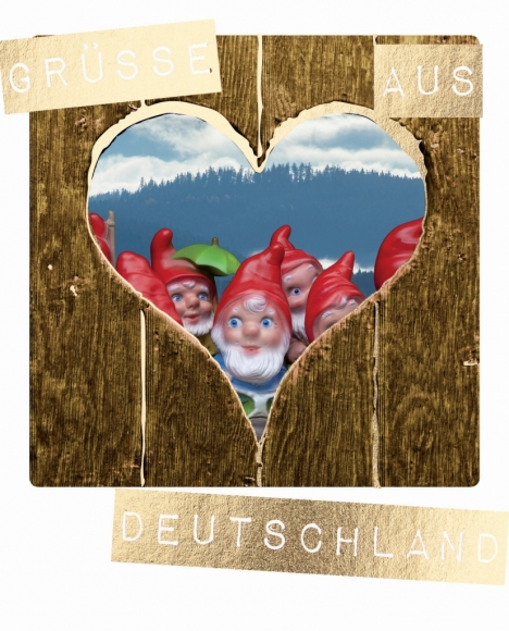 Postkarte: Grüsse aus Deutschland - Gartenzwerge