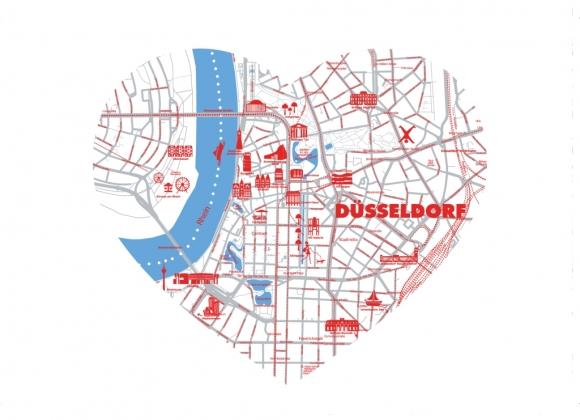 Postkarte: Düsseldorf Map