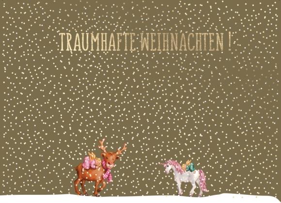 Postkarte: Einhorn und Rentier - traumhafte Weihnachten