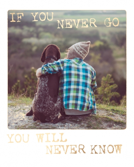 Postkarte: If you never go you will never know