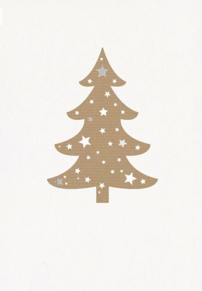 Doppelkarte: Weihnachtsbaum auf weiß