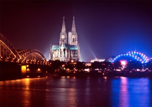 Postkarte: Köln bei Nacht