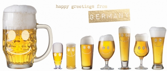 Postkarte: Happy Greetings from Germany. Biergläser.