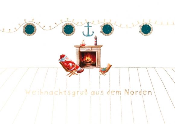 Postkarte: Weihnachtsmann am Kamin - Weihnachtsgruß aus dem Norden
