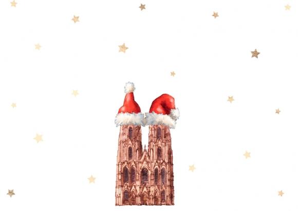 Postkarte: Dom mit Weihnachtsmützchen