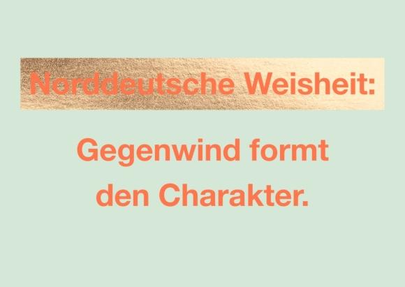 Postkarte: Norddeutsche Weisheit: Gegenwind formt den Charakter.