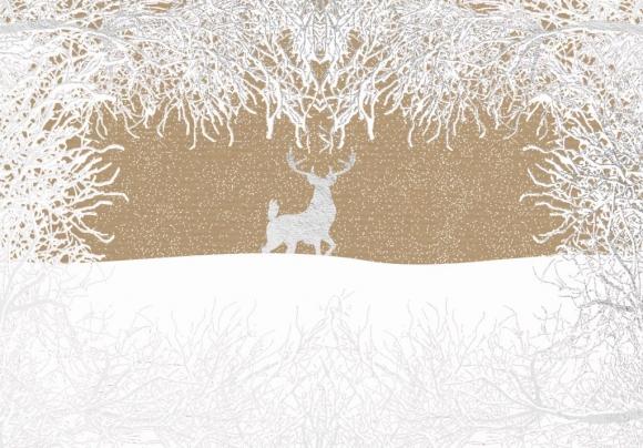 Doppelkarte: Rentier silber im Wald
