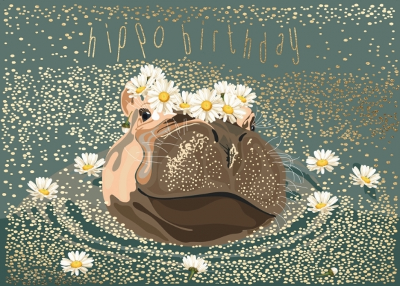 Postkarte: Hippo Birthday