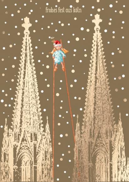 Postkarte: Frohes Fest aus Köln - Weihnachtsmann auf Stelzen