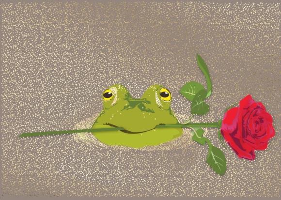 Postkarte: Frosch mit Rose