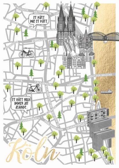 Postkarte: Citymap Köln