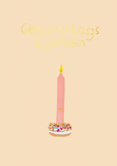 Doppelkarte: Geburtstagsküchlein Kerze