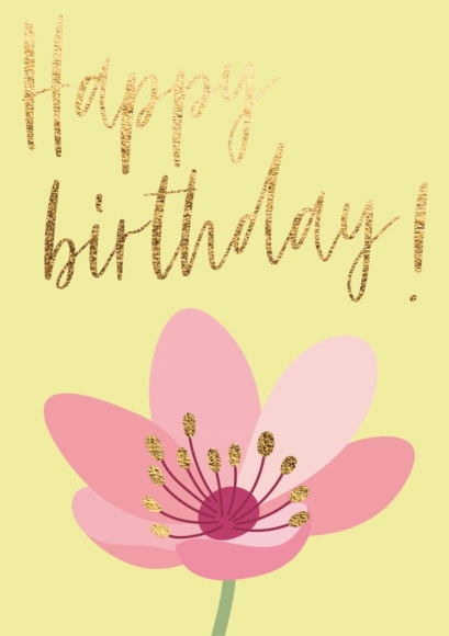 Midi-Doppelkarte:Happy Birthday - Blume rosa