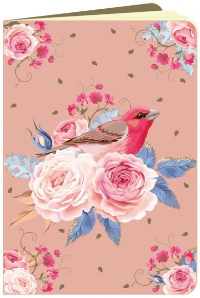 Heft flowerpower Rote Rosen mit Vogel