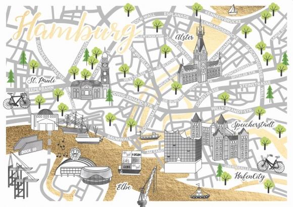 Postkarte: Sraßenkarte Hamburg
