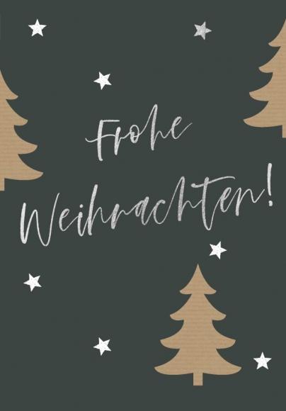 Doppelkarte: Frohe Weihnachten - Tannenbäume
