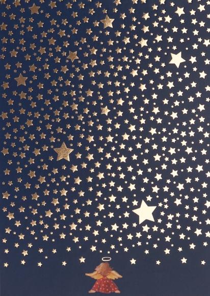 Doppelkarte: Engel unter Sternenhimmel