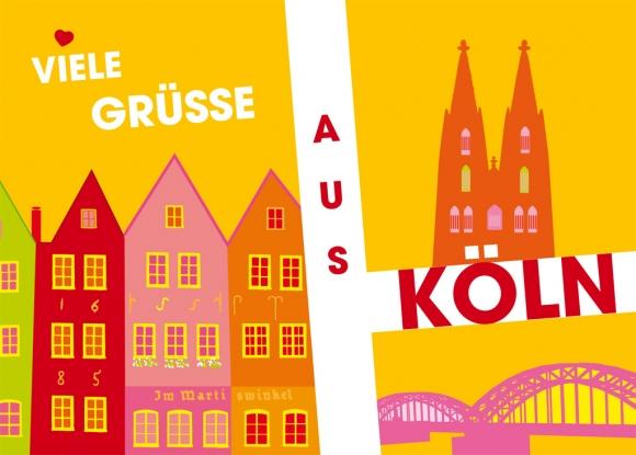 Postkarte: Grafik Stapelhäuser