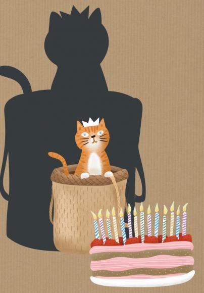 Doppelkarte: Katze mit Krone