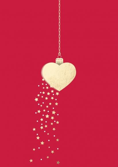 Postkarte: Weihnachtsanhänger-Herz auf rot