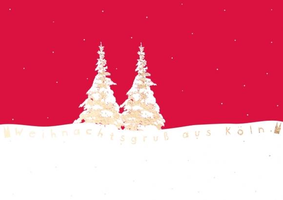 Doppelkarte: Weihnachtsbäume im Schnee - Weihnachtsgruß aus Köln