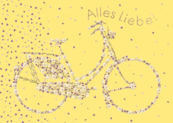 Postkarte: Alles Liebe - Blumenfahrrad