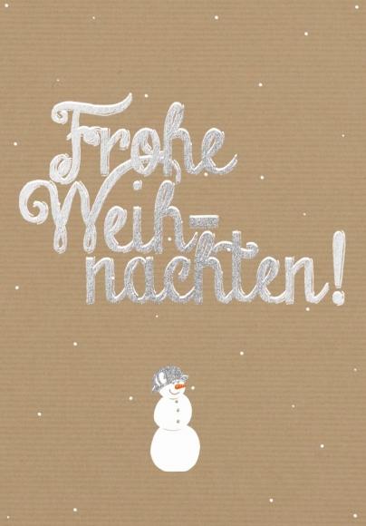 Doppelkarte: Frohe Weihnachten - Schneemann