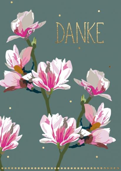 Doppelkarte: Magnolie - Danke