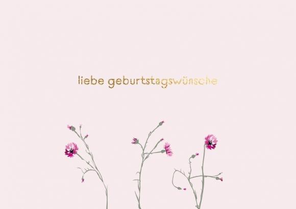 Postkarte: Liebe Geburtstagswünsche Nelken