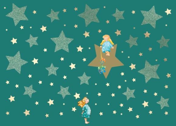 Postkarte: 2 Engel mit Geschenken