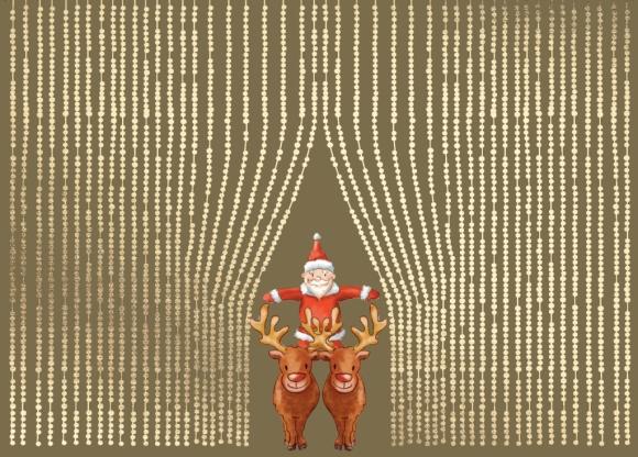 Postkarte: Weihnachtsmann auf zwei Rentieren
