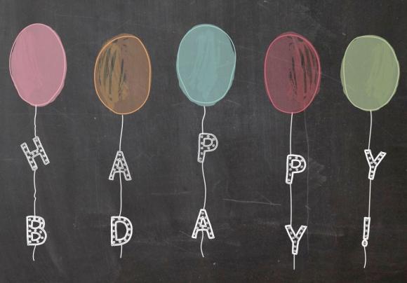 Doppelkarte: Happy BDay! Luftballons