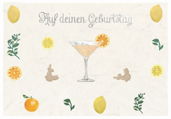 Doppelkarte: Auf deinen Geburtstag - Cocktail