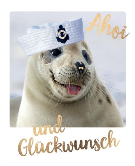 Postkarte: Ahoi und Glückwunsch