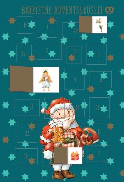 Adventskalender-Doppelkarte: Bayrische Adventsgrüße - Weihnachtsmann