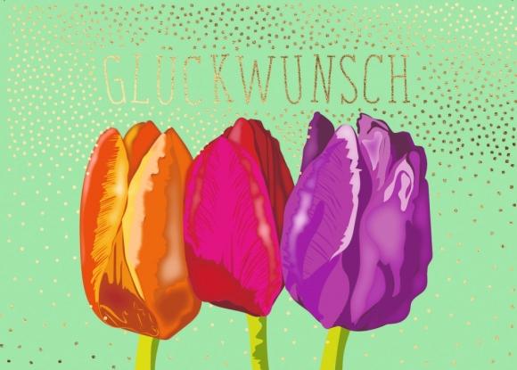 Postkarte: 3 Tulpen - Glückwunsch