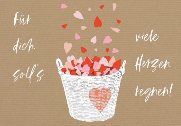 Doppelkarte: Für Dich soll's viele Herzen regnen