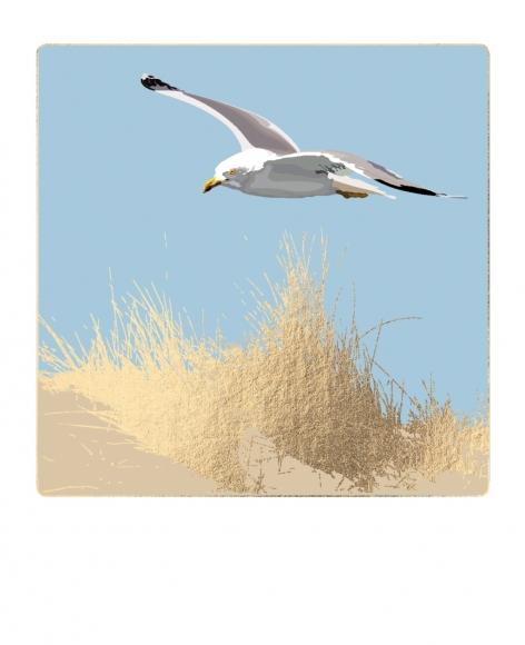 Postkarte: Möwe über goldenem Schilf