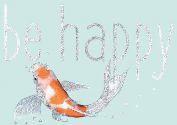 Mini-Doppelkarte: Be Happy - Koi